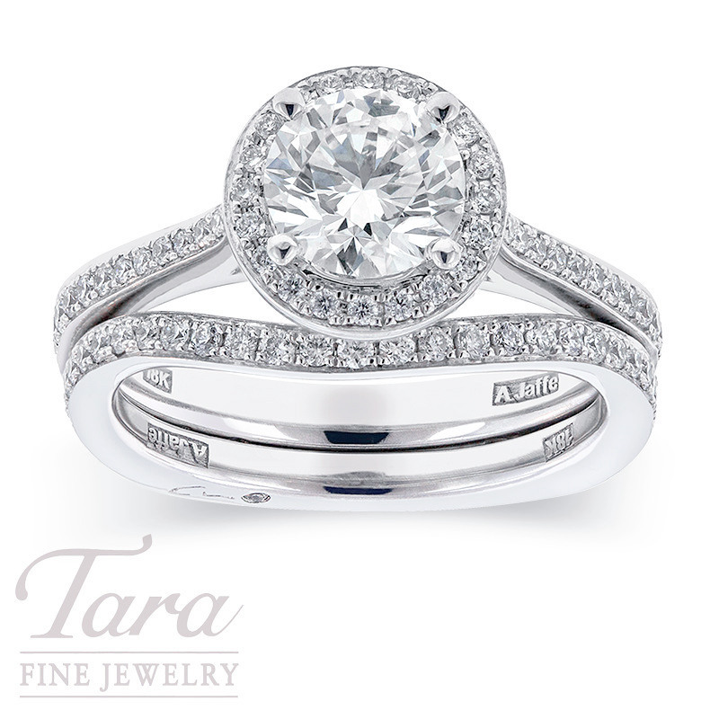 A. Jaffe Bridal Set in 18K White Gold, .47 TDW