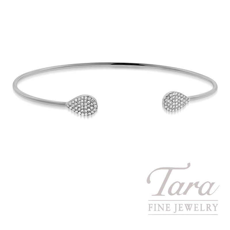 18K White Gold Diamond Bangle Bracelet, .20TDW