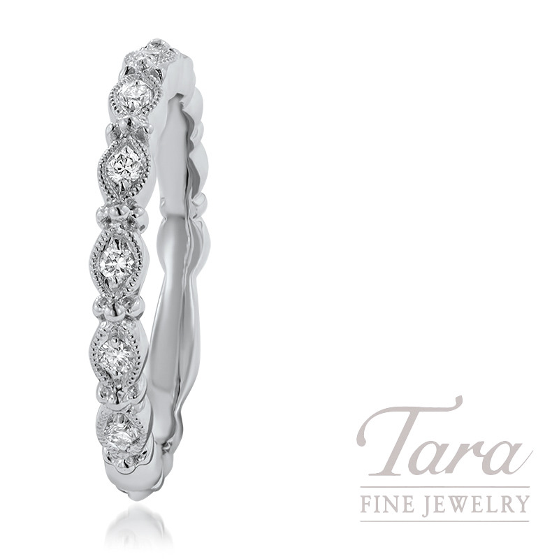 18K White Band With 7 Round Diamonds .13TDW 3.4G