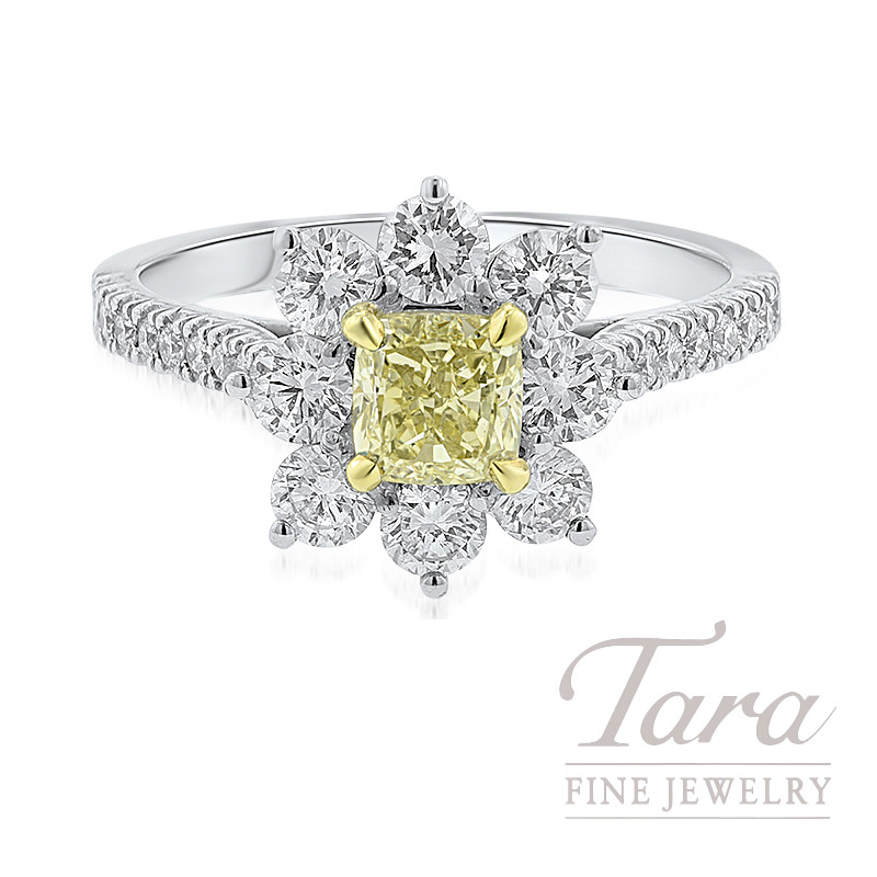 Forevermark 18K Two-Tone Flower Diamond Ring, .72CT Fancy Yellow Diamond, 1.02TDW