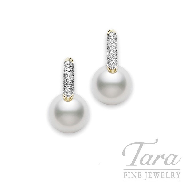 Mikimoto Pearl & Diamond Earrings in 18K Yellow Gold, .27tdw