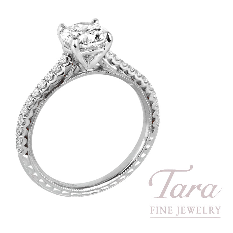 Jack Kelege 18k White Gold Diamond Engagement Ring, 3.1G, .25TDW (Center Stone Sold Separately