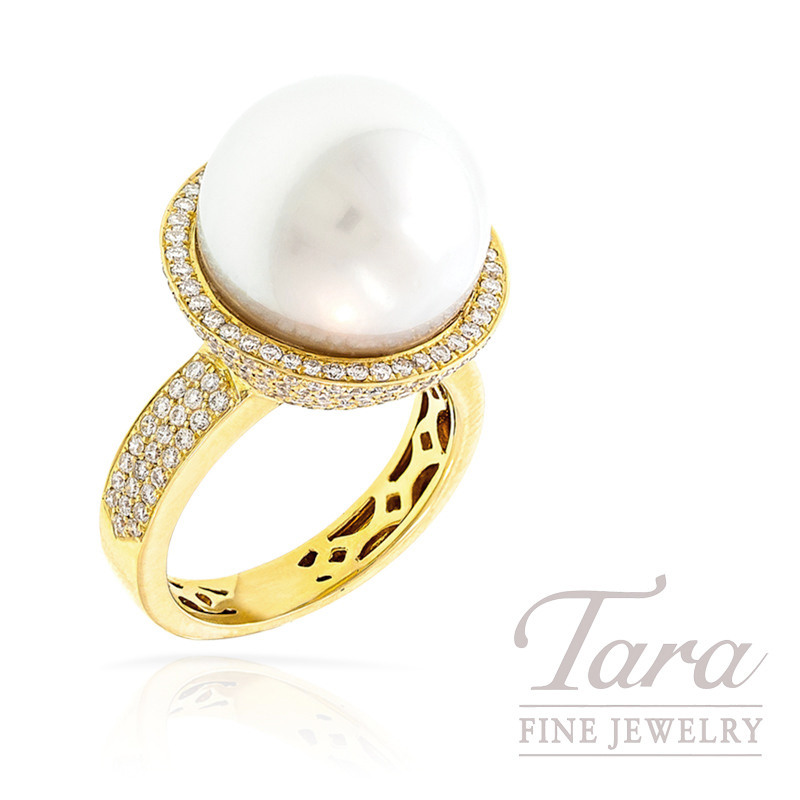 18k Yellow Gold South Sea Pearl and Diamond Ring, 14mm Pearl, 1.51TDW
