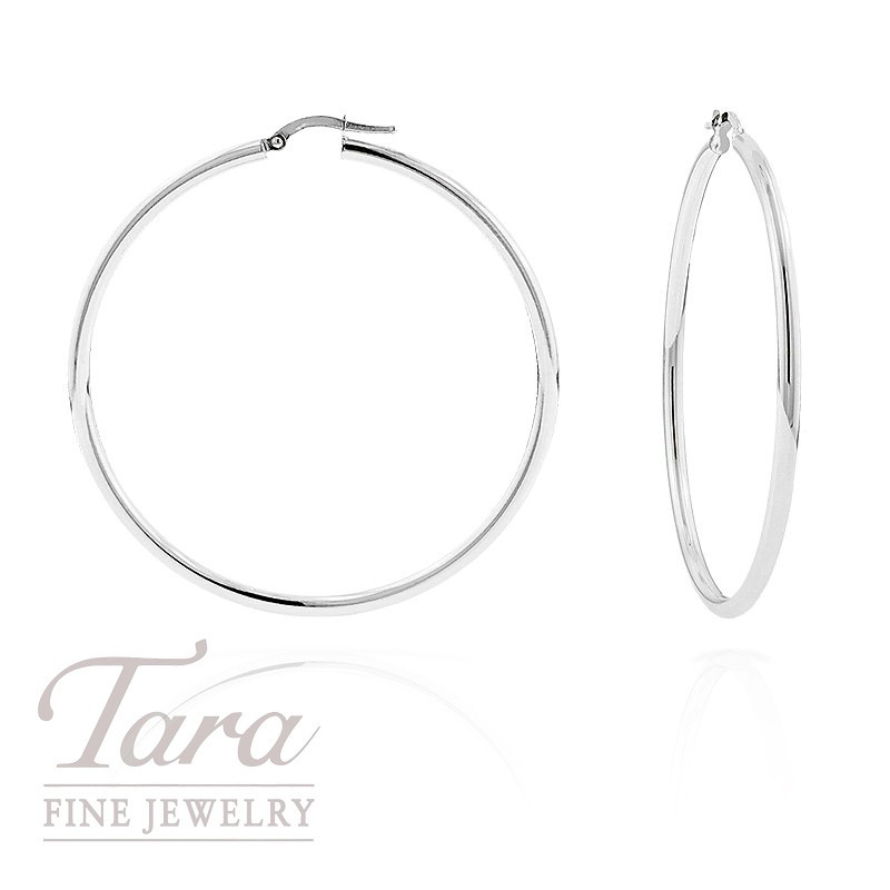 14k white gold large hoop earrings tara fine jewelry. Black Bedroom Furniture Sets. Home Design Ideas