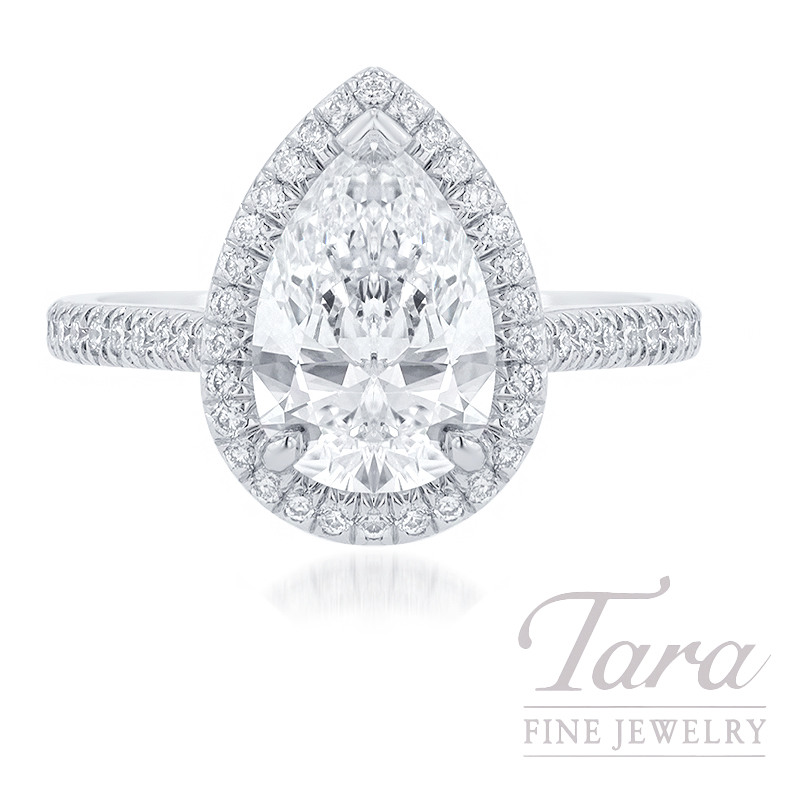18K White Gold Pear-shape Diamond Halo Engagement Ring, 1.72CT Pear-shape Diamond, 3.2G, .32TDW (Center Stone Sold Separately)