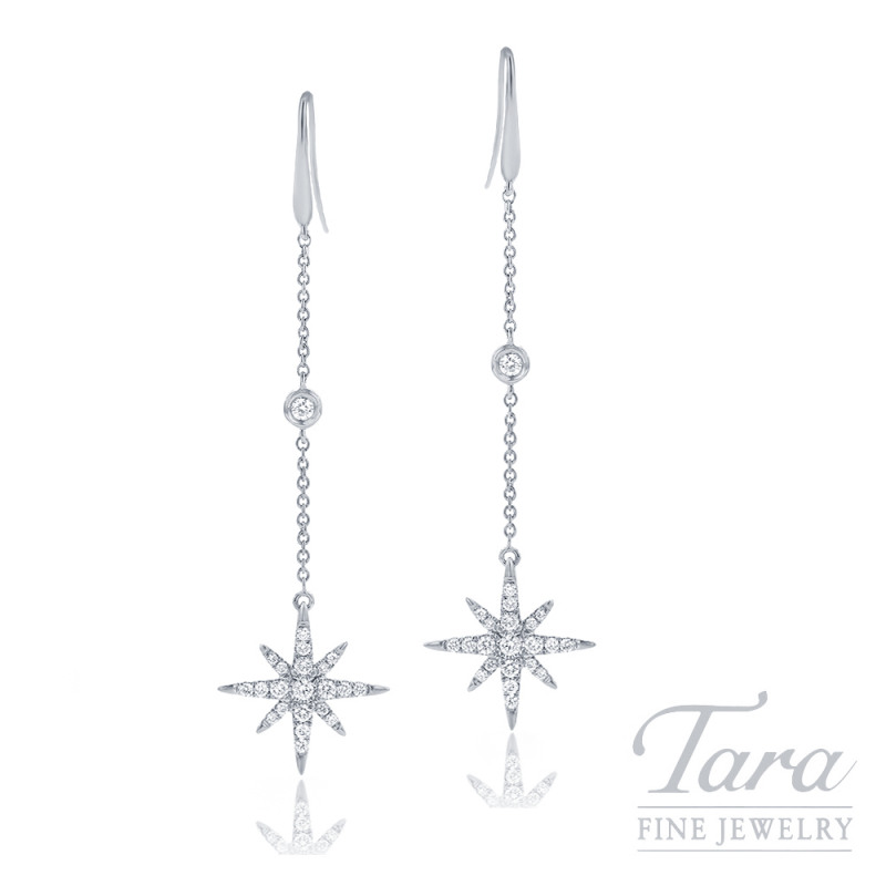 18k White Gold Diamond Sparkler Dangle Earrings, 2.7G, .38TDW