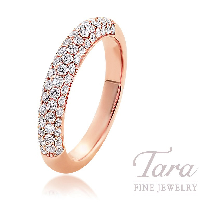18K Rose Gold Pave Diamond Band, 4.1G, .68TDW