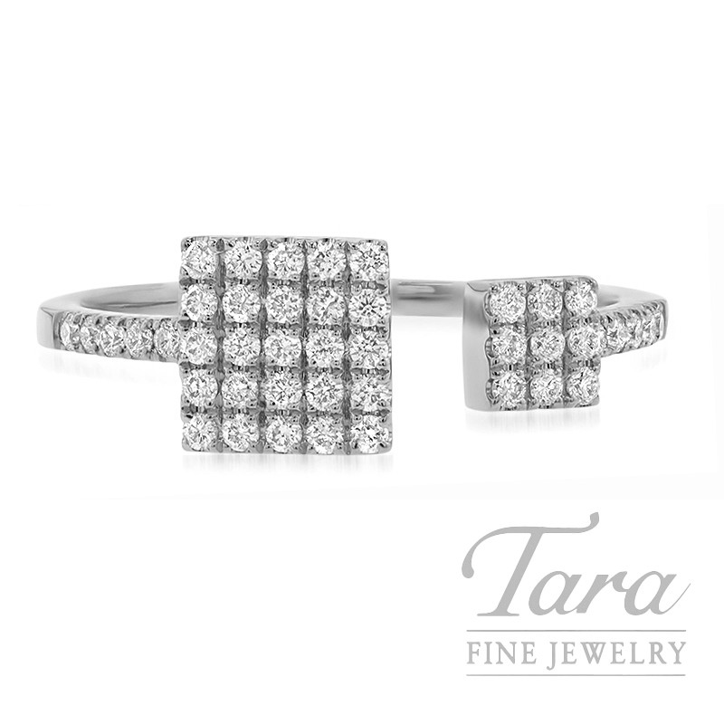 18K White Gold Pave Diamond Square Fashion Ring, 2.3G, .30TDW