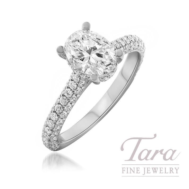 18K White Gold Forevermark Oval-shape Diamond Pave Engagement Ring, 1.51CT Oval-shape Forevermark Diamond, 3.5G, .86TDW (Center Stone Sold Separately)