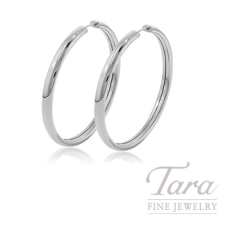 14k White Gold Hoop Earrings, 4.2G