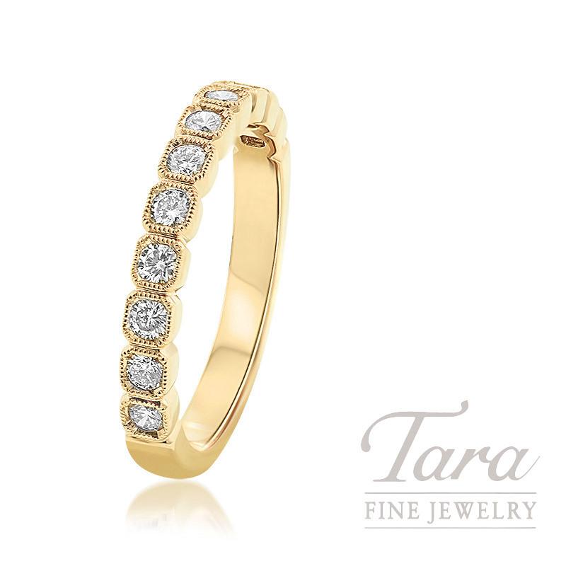 18k Yellow Gold Diamond Bezel Ring, 3.1G, .40TDW