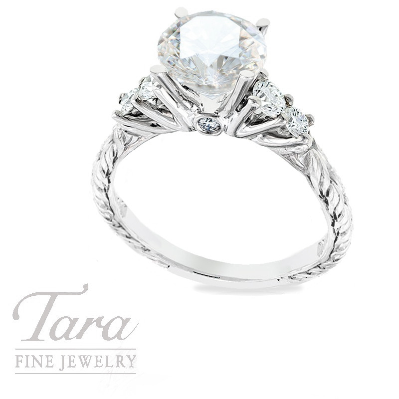 Scott Kay Diamond Ring in 19k White Gold, .42TDW(Center stone sold separately)