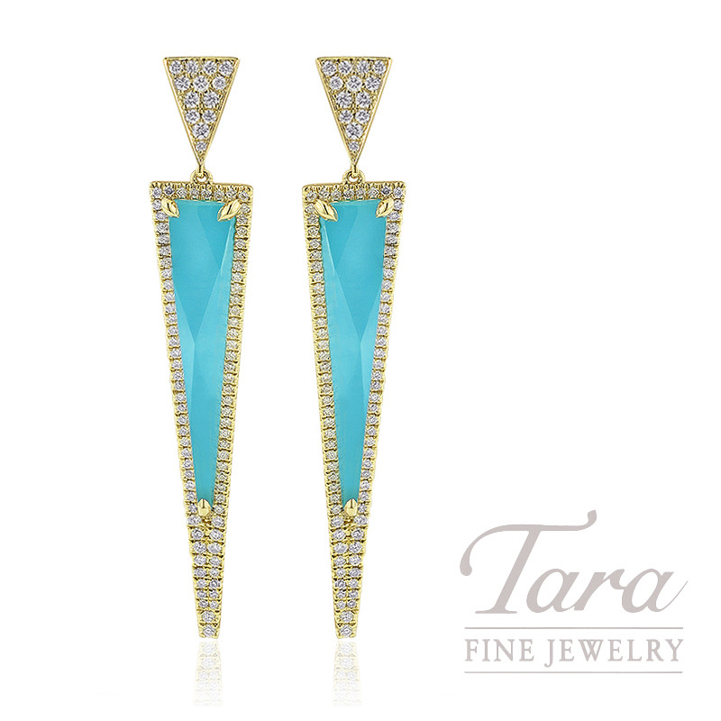 18K Yellow Gold White Topaz, Turquoise, and Diamond Dangle Earrings, 10.7G, 11.23TGW White Topaz over Turquoise, .88TDW