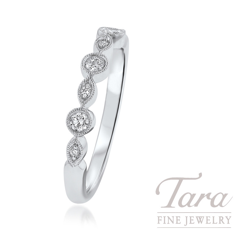 18k White Gold Diamond Stackable Band, .16TDW