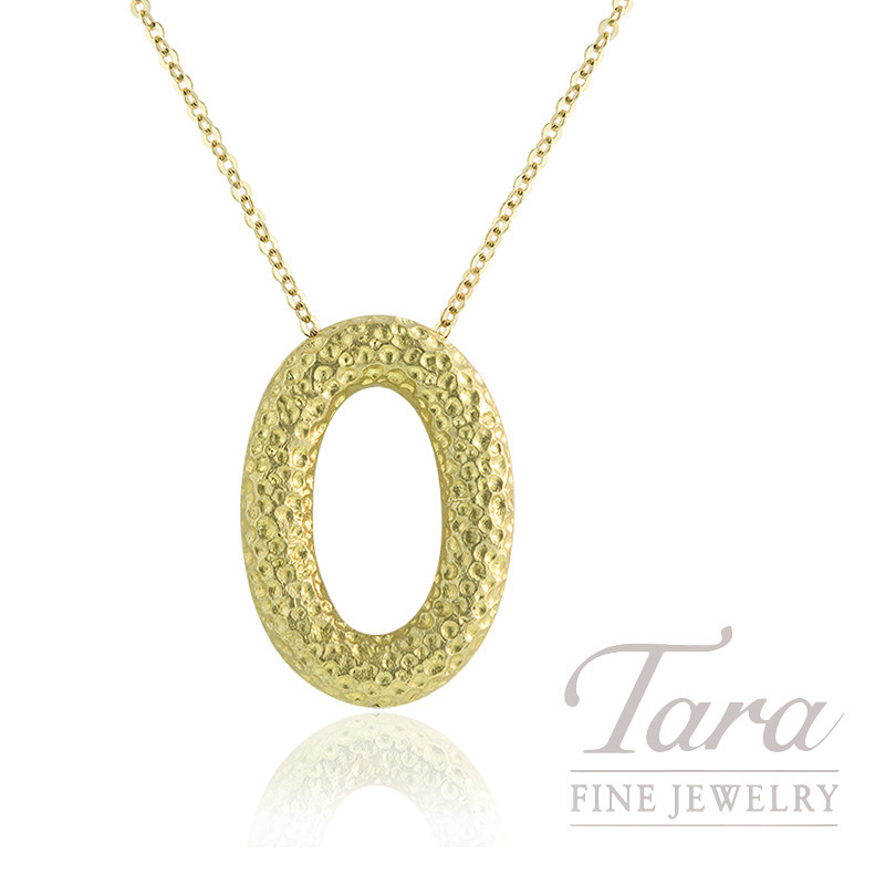 18K Yellow Gold Textured Oval Pendant, 5.1G