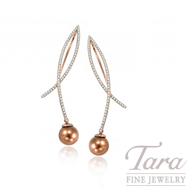 18k Rose Gold Chocolate Pearl and Diamond Earrings, 8mm Chocolate Pearls, .65TDW