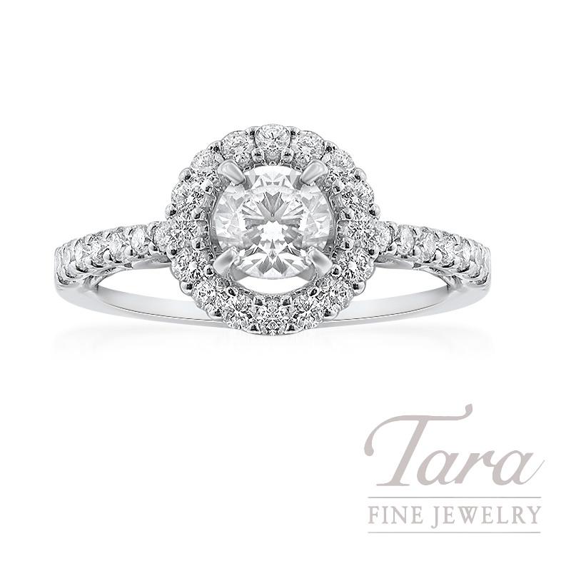14K White Gold Halo Diamond Engagement Ring, .49CT Center Diamond, 2.9G, .40TDW