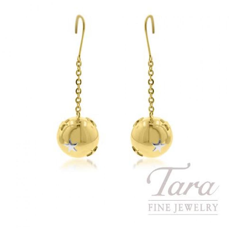18k Yellow Gold Fish Hook Earrings