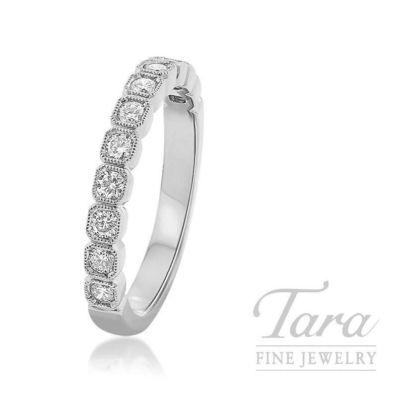 18k White Gold Diamond Bezel Ring, 3.0G, .40TDW