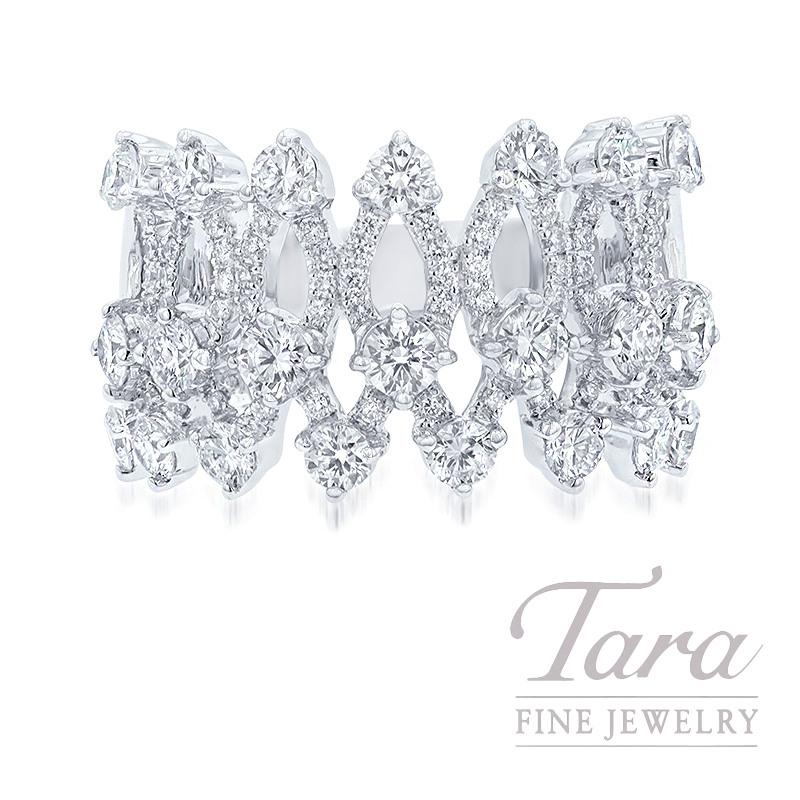 18K White Gold Diamond Fashion Ring, 9.3G, 1.82TDW