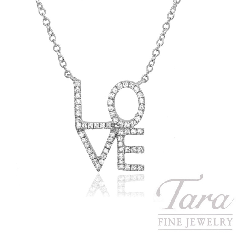 "14k White Gold Stacked ""LOVE"" Diamond Necklace, 16/18"" Chain, .15TDW"