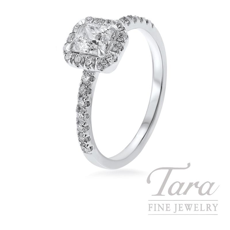 Forevermark 18k White Gold Diamond Halo Engagement Ring, .52CT D-VS1 Center, .34TDW