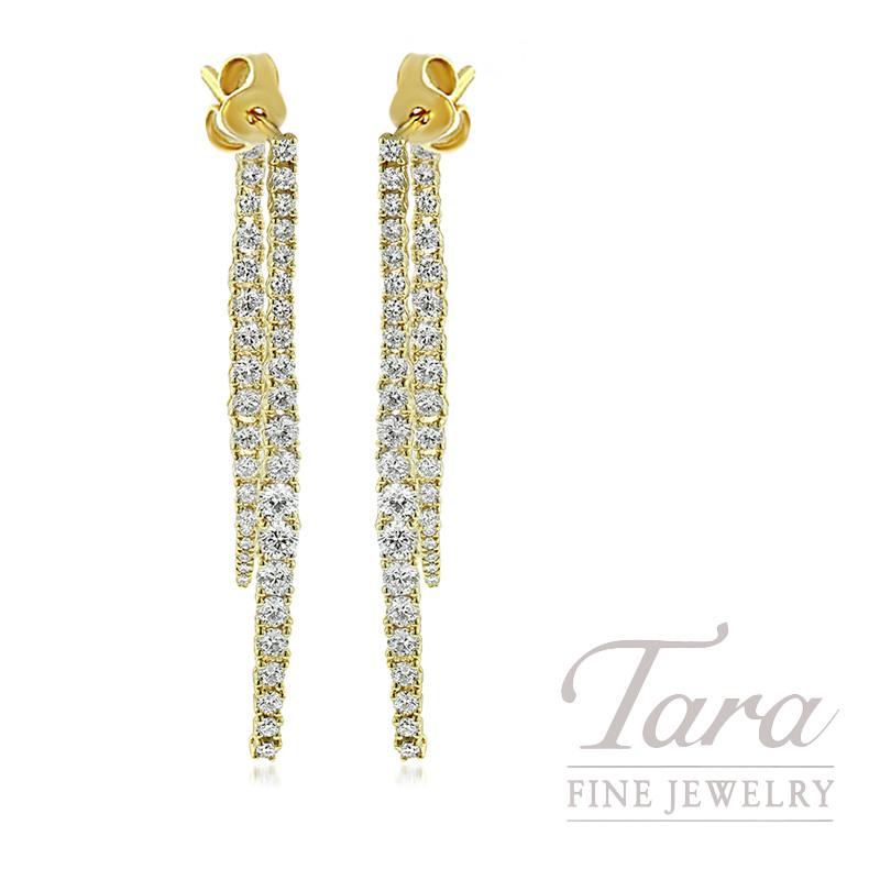 18K Yellow Gold Diamond Dangle Earrings, 5.9G, 1.72TDW