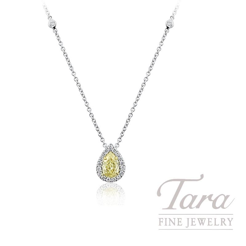 "18K Yellow Gold & White Gold Pear-shape Fancy Yellow Diamond Necklace, 16"" Chain, 3.7G, .55CT Fancy Yellow Diamond, .19TDW"