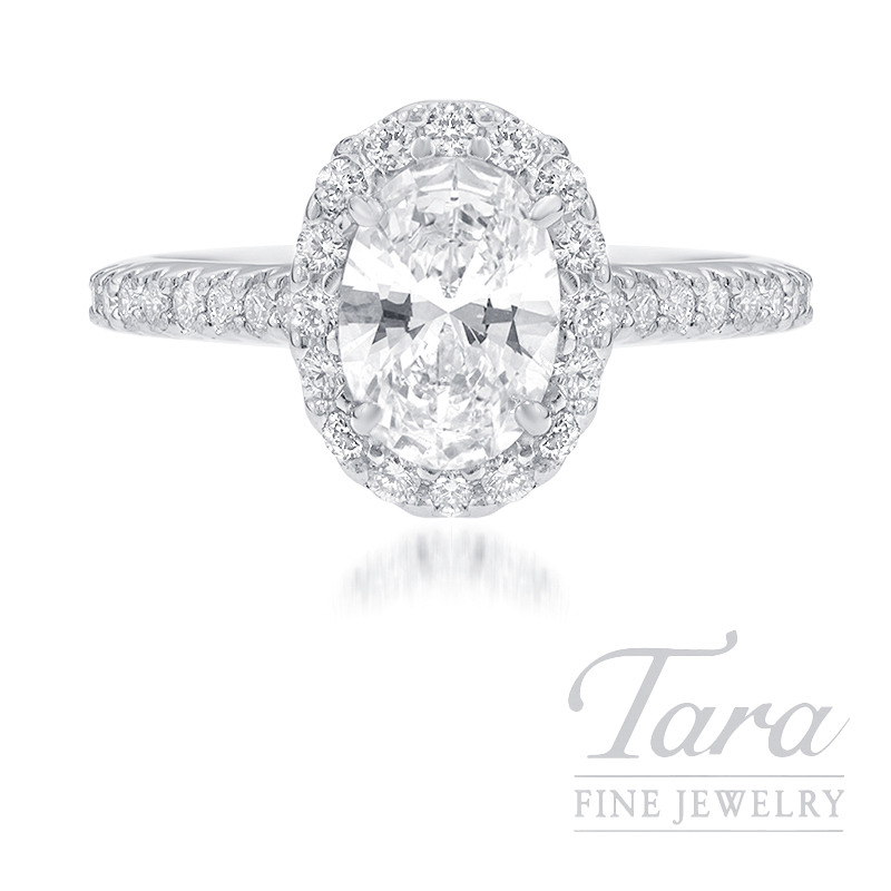 18K White Gold Oval-shape Diamond Halo Engagement Ring, 1.02CT Oval-shape Diamond, .40TDW (Center Stone Sold Separately)