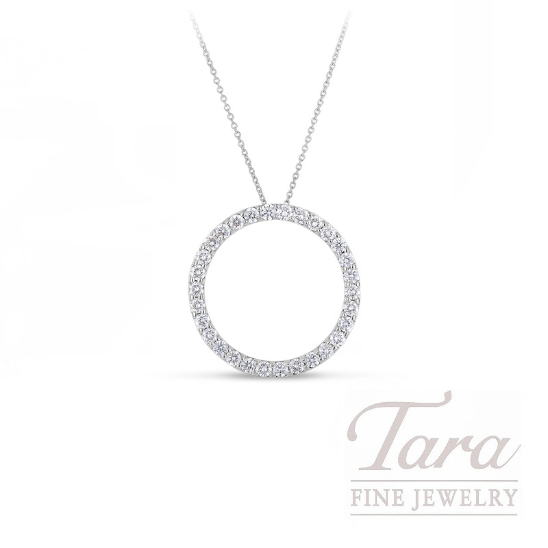 Roberto Coin 18K White Gold Small Diamond Circle Pendant, .09TDW
