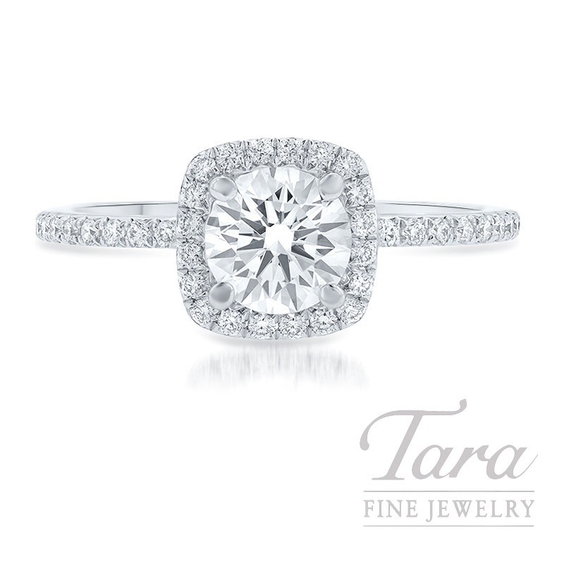 18K White Gold Diamond Halo Engagement Ring, .82CT Forevermark Round Brilliant Diamond, 2.4G, .35TDW (Center Stone Sold Separately)