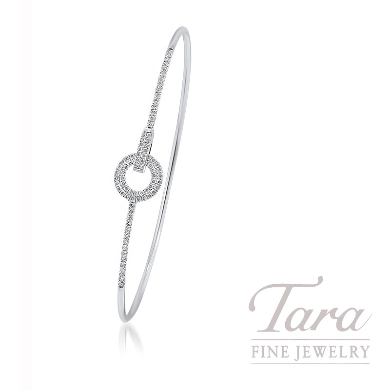 Norman Covan 18k White Gold Interlocking Diamond Fashion Bangle, 4.7G, .40TDW