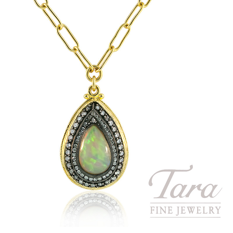 24k yellow gold opal and diamond pendant 18 chain 518ct opal 24k yellow gold opal and diamond pendant 18 chain 518ct opal aloadofball Images
