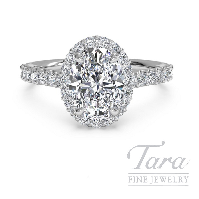 Ritani 18k White Gold Diamond Halo Engagement Ring, 3.8G, .45TDW (Center Stone Sold Separately)