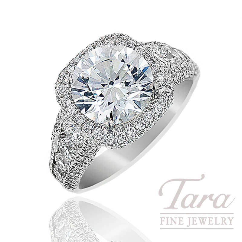 J.B. Star Diamond Platinum Diamond Halo Engagement Ring, 1.96TDW (Center diamond sold separately).