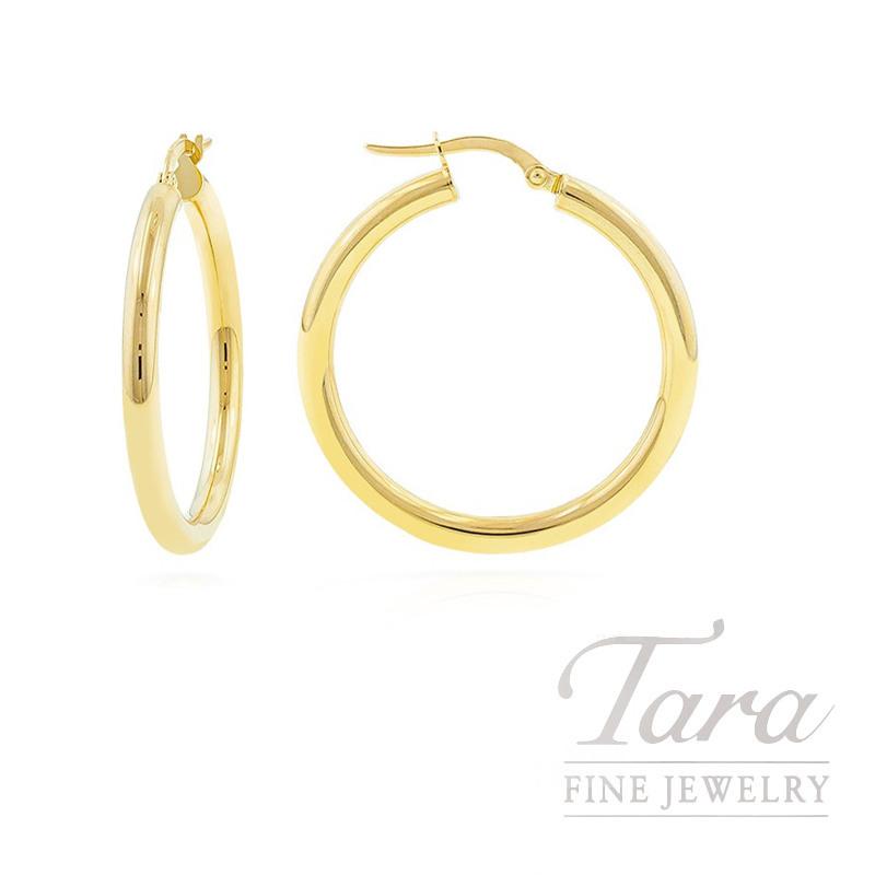 14k Yellow Gold 2 x 24 Hoop Earrings