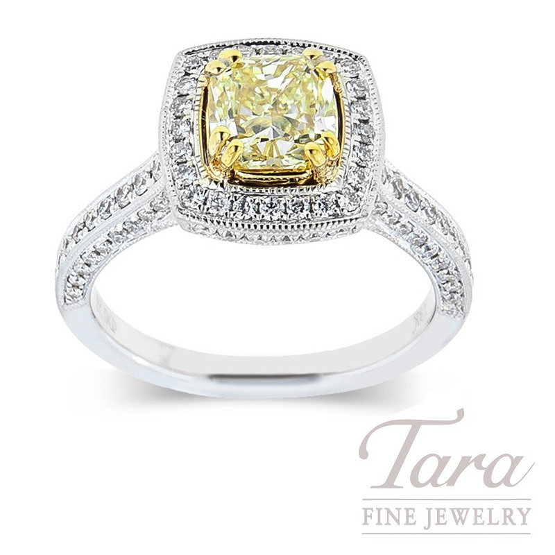 Forevermark 18k Two-Tone Fancy Yellow Diamond Ring, 1.24CT Fancy Yellow Diamond, .59TDW