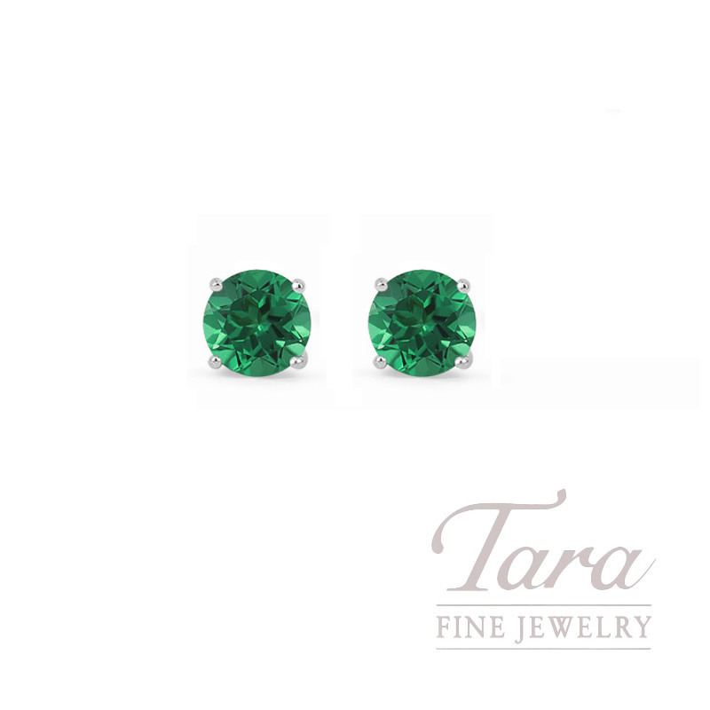 14K White Gold Emerald Baby Stud Earrings