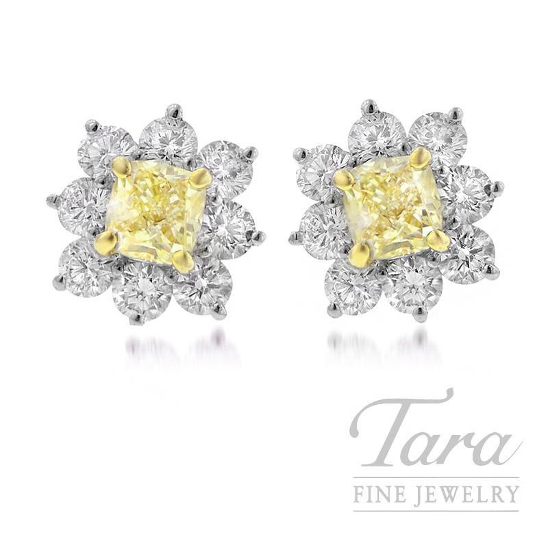 Forevermark 18K White Gold Yellow Diamond Earrings, 1.92TDW