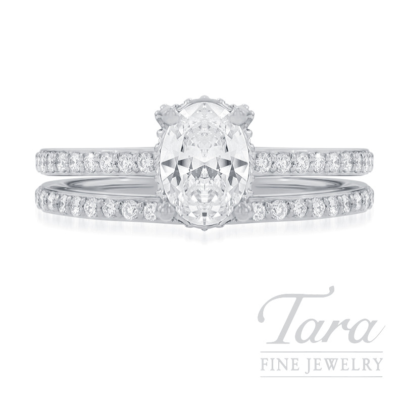 18k White Gold Diamond Wedding Set, .44TDW (Center Stone Sold Separately)