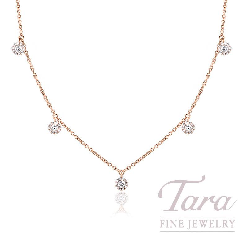 "18K Rose Gold Diamond Halo Stationary Necklace, 16/17/18"" Chain, 2.7G, .37TDW"