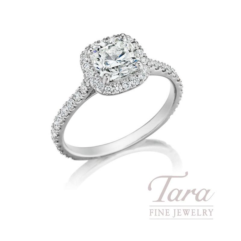 18K White Gold Mounting Ring, .35TDW (Center Stone Sold Separately)