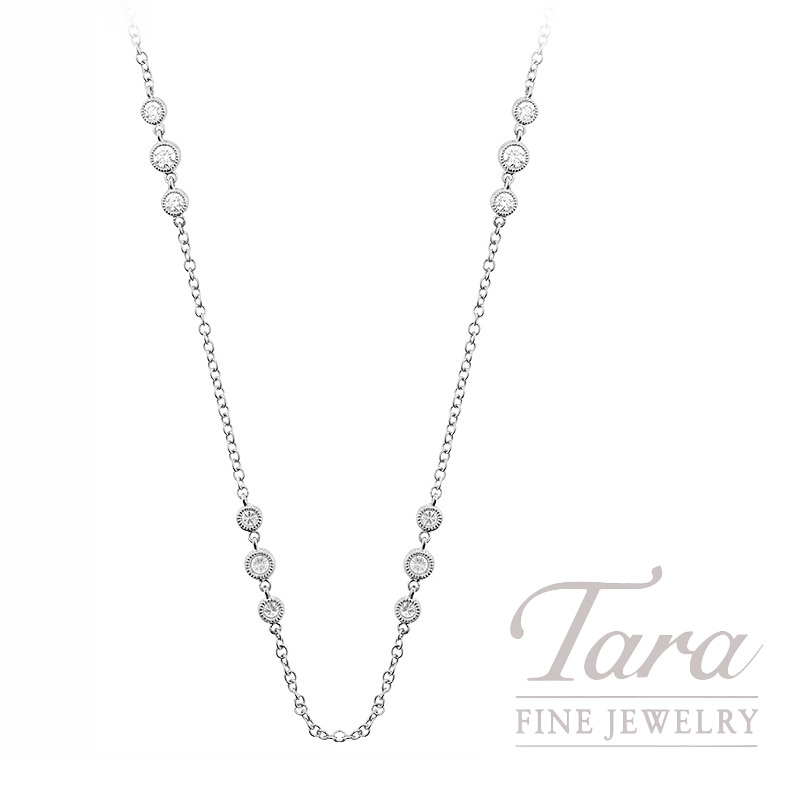 "18K White Gold Diamond Bezel Chain Necklace, 16.5/18"" Chain, 5.3G, 1.20TDW"