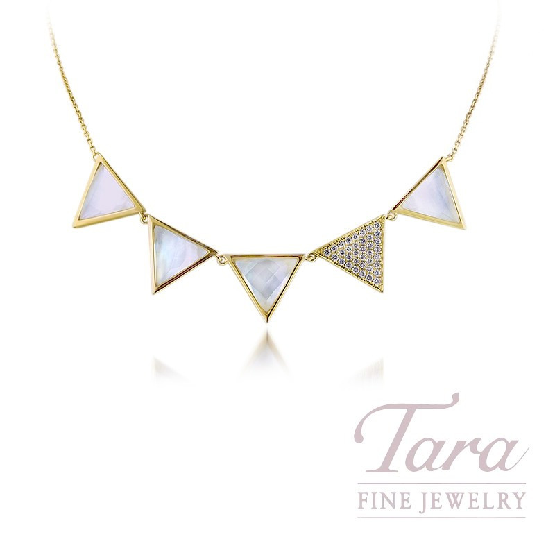 """18K Yellow Gold Quartz, Mother of Pearl, and Diamond Triangle Necklace, 16/18"""" Chain, 9.4G, .32TDW"""