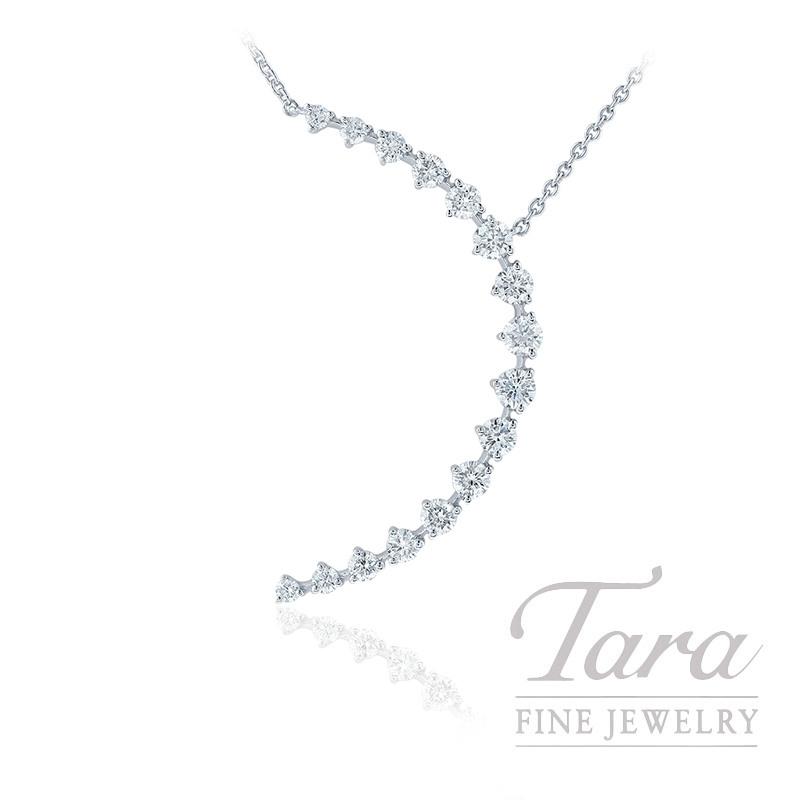 "18K White Gold Diamond Moon-shape Necklace, 16/18"" Chain, 3.6G, .78TDW"