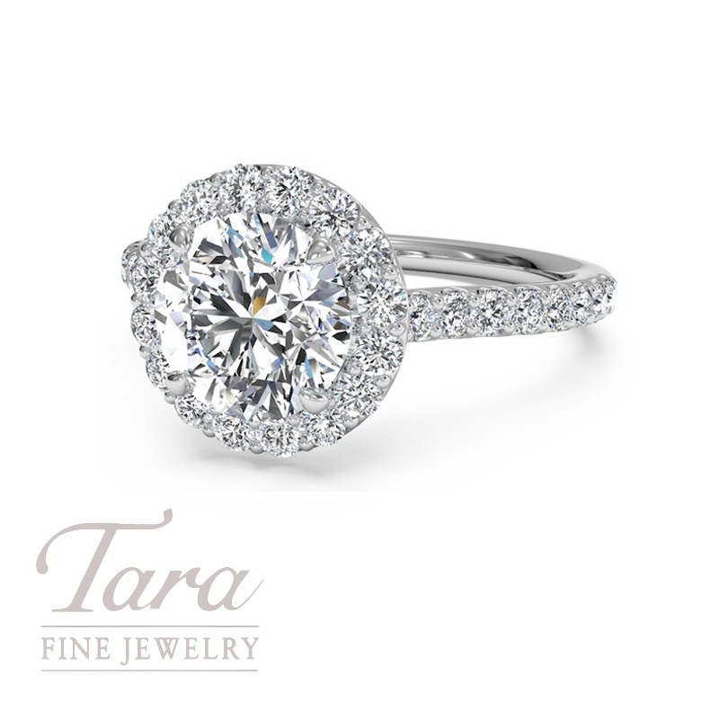 Ritani 18K White Gold Diamond Halo Engagement Ring, .45TDW (Center Stone Sold Separately)