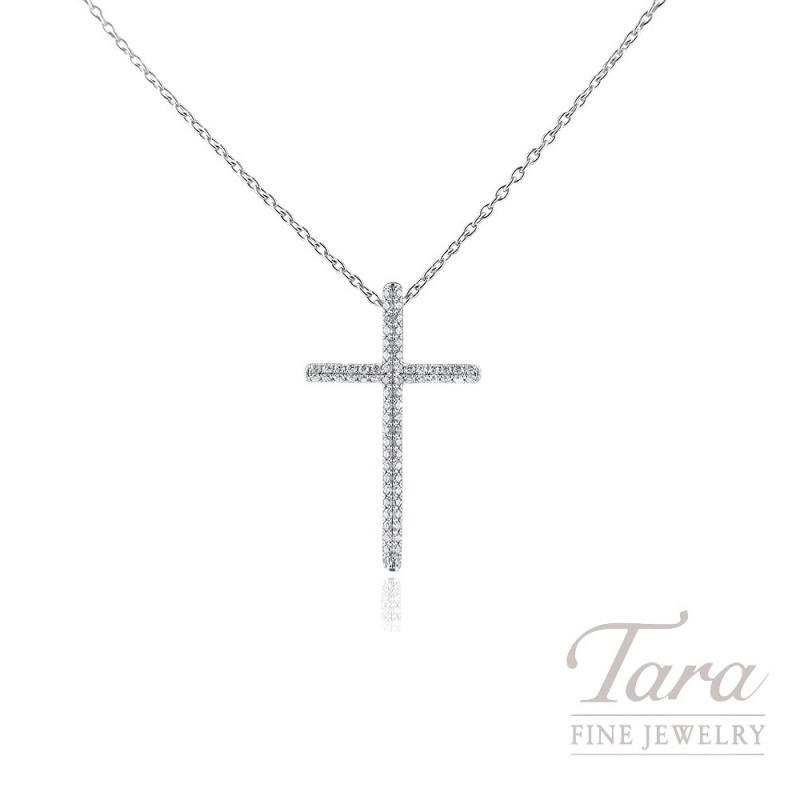 18K White Gold Diamond Cross Pendant, 1.7G, .56TDW