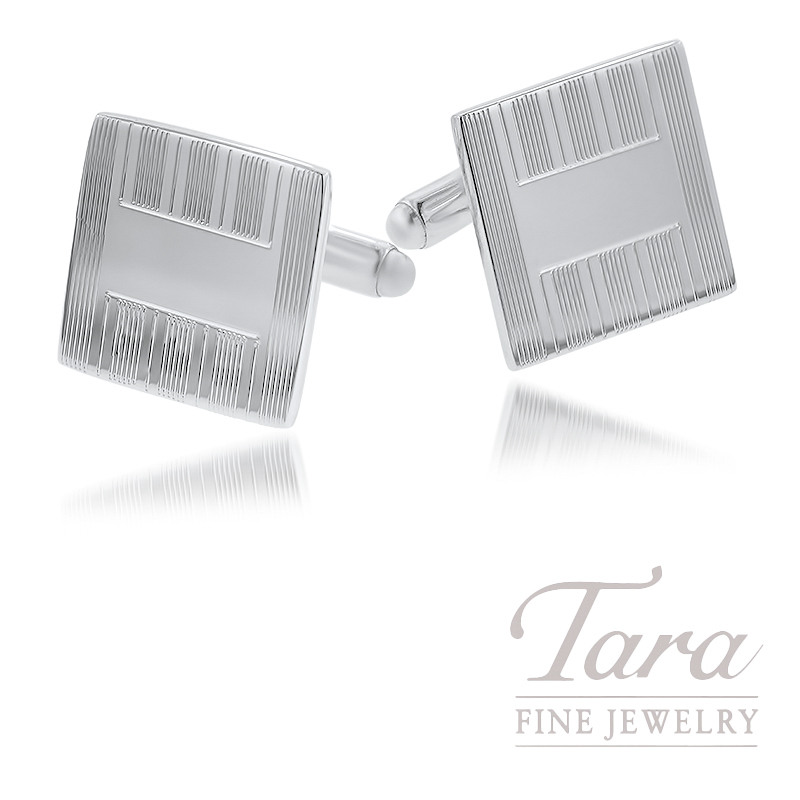 Sterling Silver Engraved Square Cufflinks