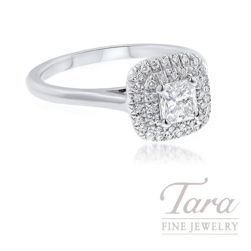 18k White Gold Double Halo Engagement Ring, .44CT Princess Cut Diamond, .20TDW (Center Stone Sold Separetely)