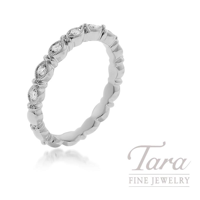 18k White Gold Diamond Stackable Ring, 3.6G, .13TDW
